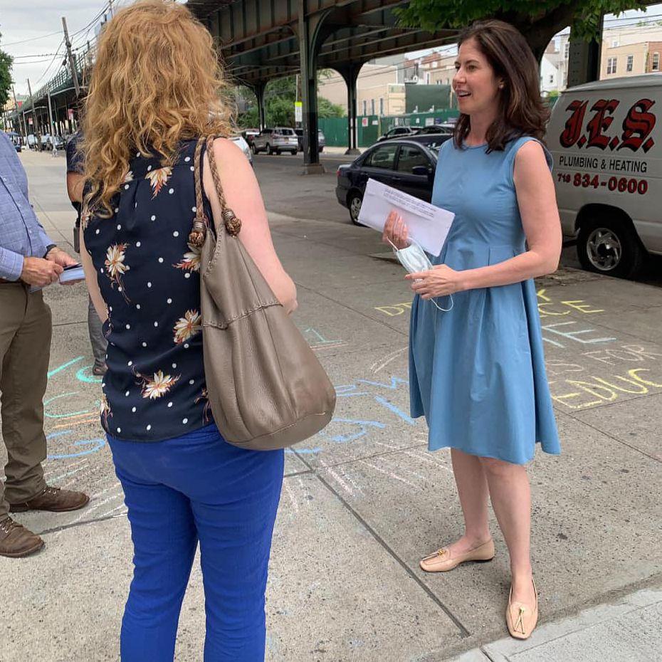 Former Councilmember Elizabeth Crowley campaigns for Queens borough president, June 22, 2021.