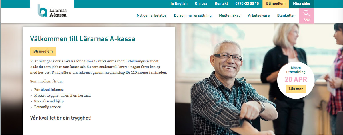 Website for Sweden's teacher's union's unemployment fund.