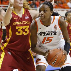 Oklahoma State's Toni Young looks to score past Iowa State's Chelsea Poppens during a women's NCAA college basketball game at Gallagher-Iba Arena in Stillwater, Okla., Saturday, Feb. 25, 2012.