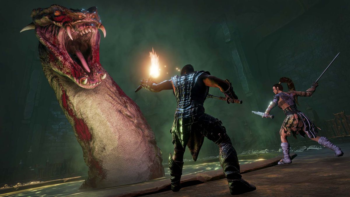 Players fight a massive dragon-like monster in Conan Exiles.