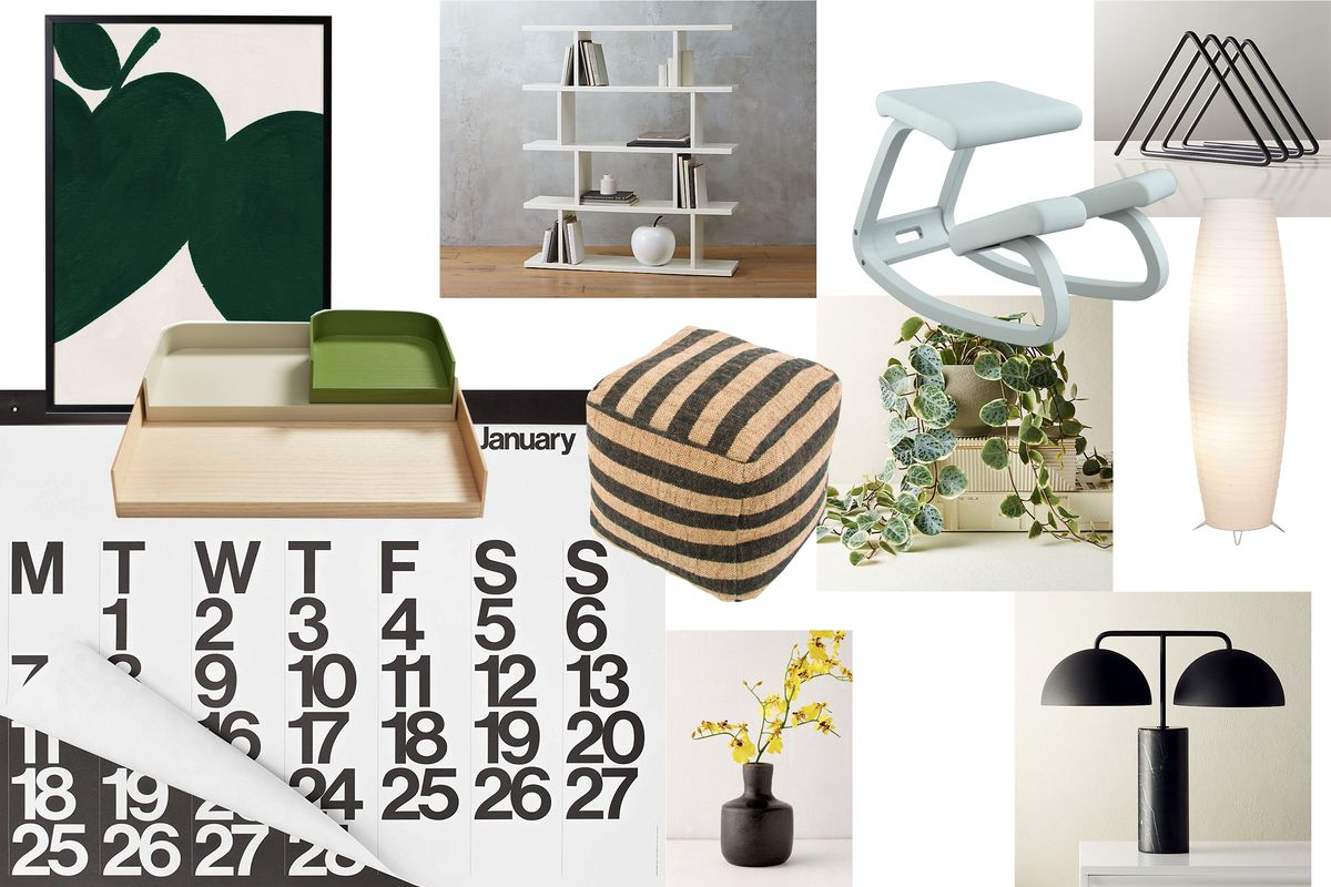 A collection of office furniture with a graphic theme, including a black and brown striped ottoman, a wall calendar with large numbers on display, and a zoomed-in green apple print that is framed.