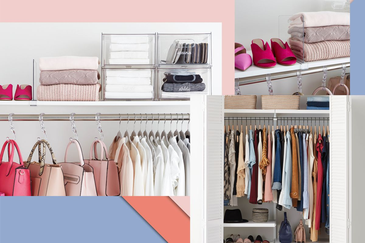 A collage of multiple photos of closets. There are clear storage containers and hangers full of neatly arranged clothing and other objects.