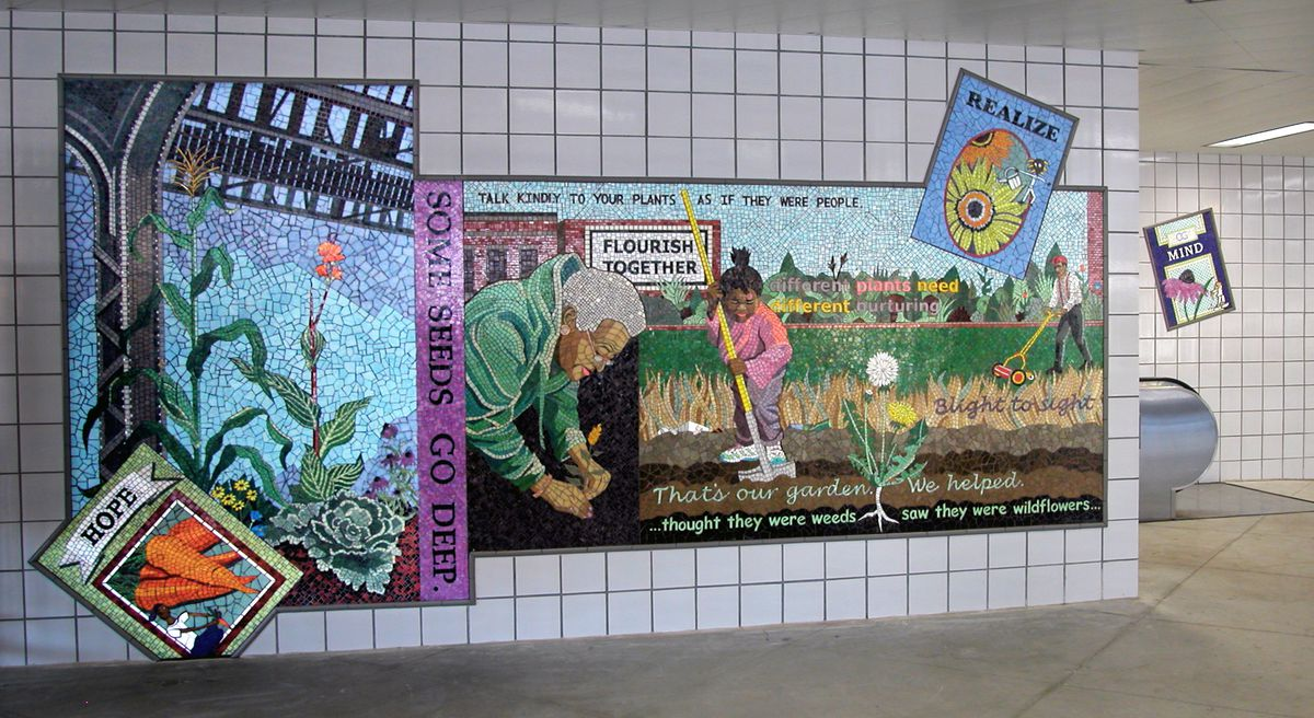 """Olivia Gude's mosaic """"Cannas & Corn: A Garden Community"""" at the CTA Pink Line Central Park station."""