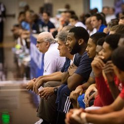 Drummond watches the game from the Pistons bench
