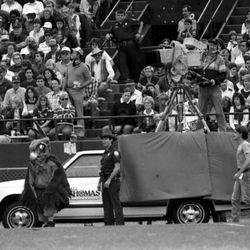 """<strong>1985- Cameraman and """"Tommy Hawk"""" on the sidelines</strong>"""