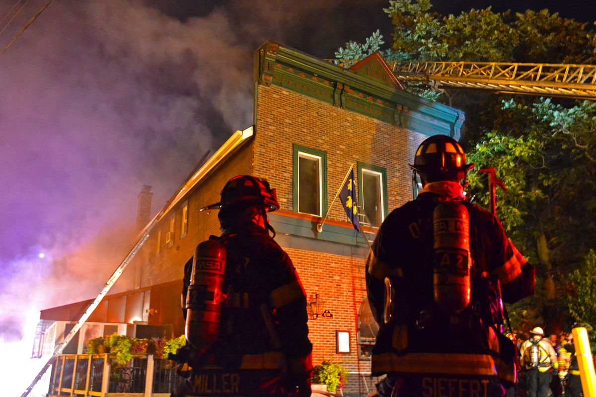 Firefighters at a blaze in Blue Island.
