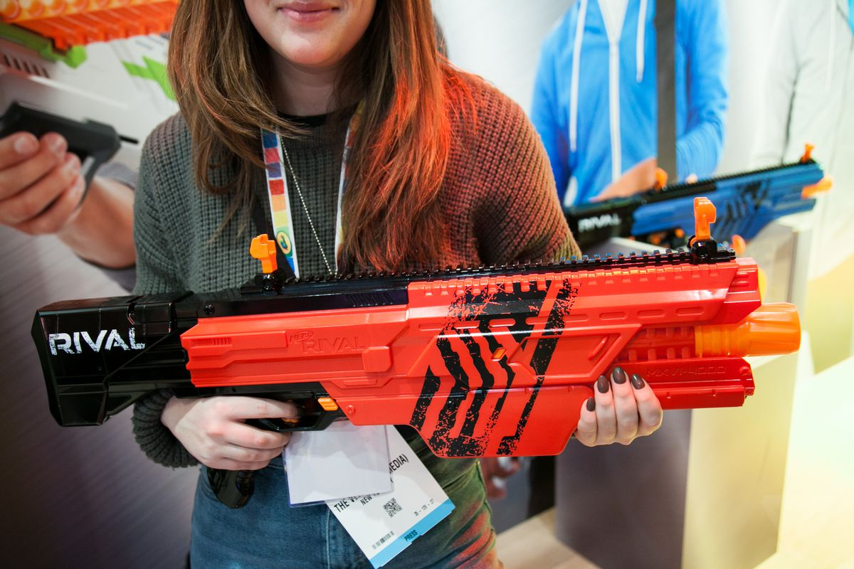With a foldable stock this blaster can be folded and turned into a barrel  extension for a Modulus blaster like the Modulus ECS-10.
