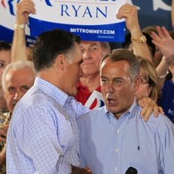 Republican presidential candidate, former Massachusetts Gov. Mitt Romney shakes hands with House Speaker John Boehner of Ohio during a victor rally, Saturday, Sept. 1, 2012, at Union Terminal in Cincinnati.