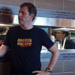 Bobby Flay at Opening Day for Bobby's Burger Palace.