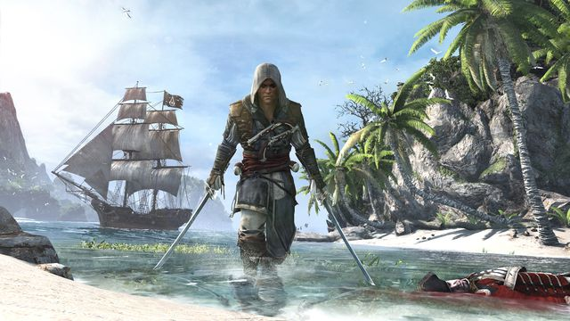 a man in an assassin outfit, Edward Kenway, comes ashore on a beach brandishing two swords with his ship floating behind him