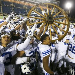 Brigham Young Cougars Raise Combi Wheel After Winning 42-14 over Utah State Aggregates at Maverick NCAA Soccer Stadium in Logan on Saturday, November 2, 2019.