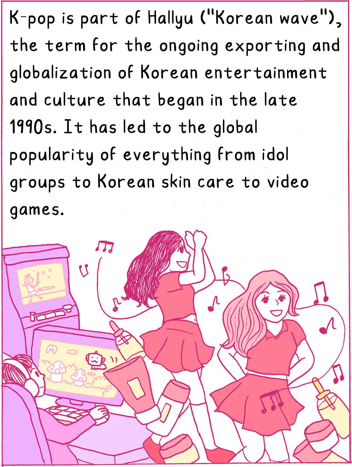 """K-pop is part of Hallyu (""""Korean wave""""), the term for the ongoing exporting and globalization of Korean entertainment and culture that began in the late 1990s. It has led to the global popularity of everything from idol groups to Korean skincare to video games."""