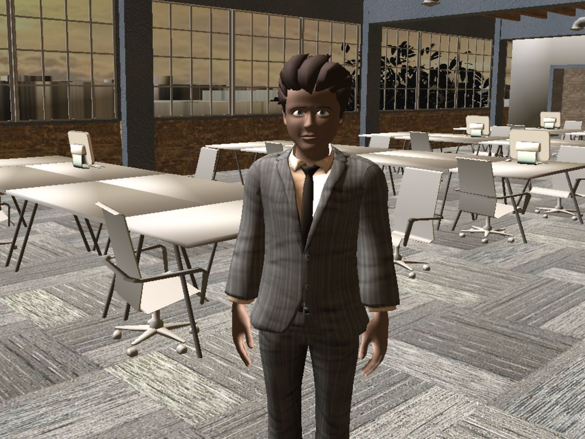 High Fidelity CEO Philip Rosedale's avatar in a recreation of High Fidelity's office