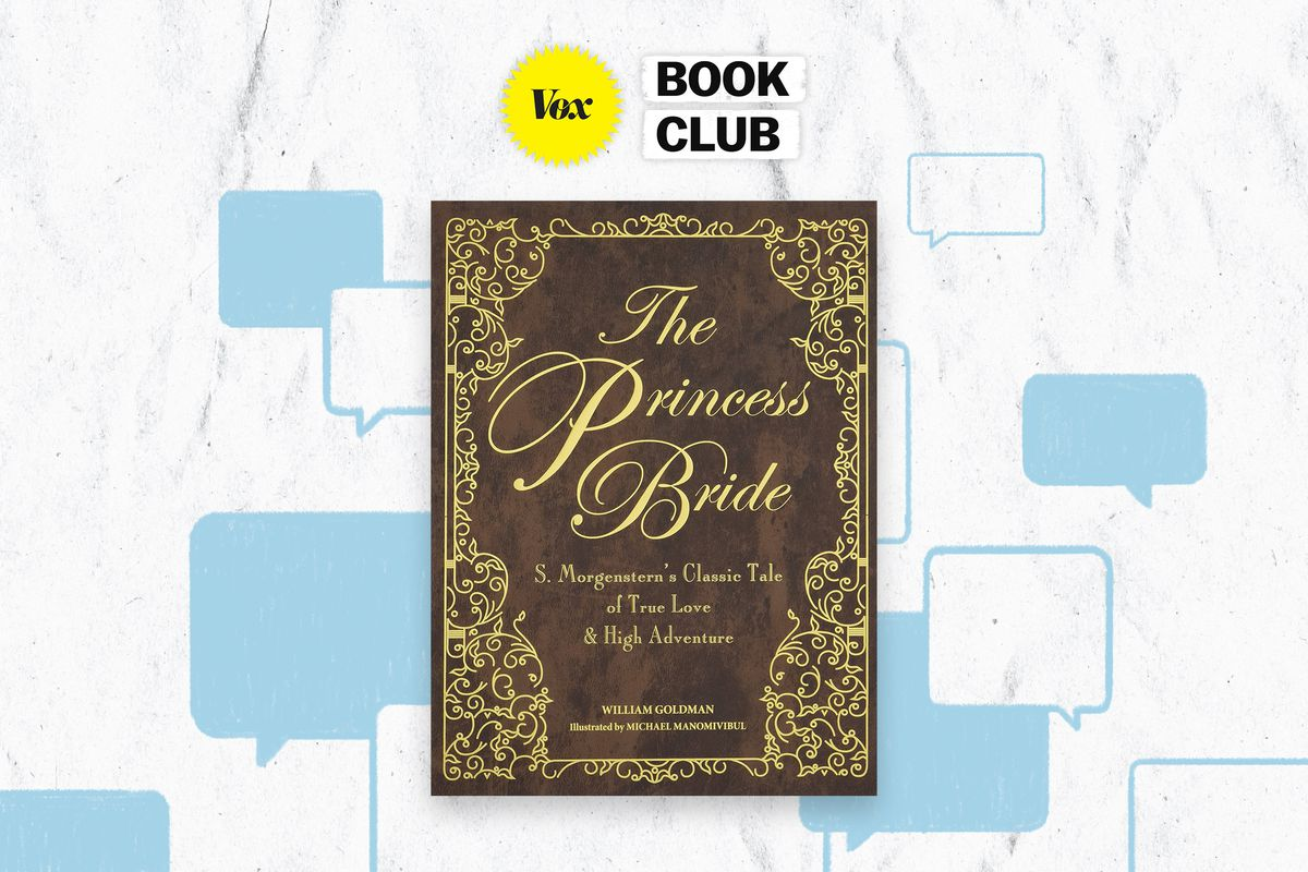 An illustration of a Princess Bride book cover and the Vox Book Club.