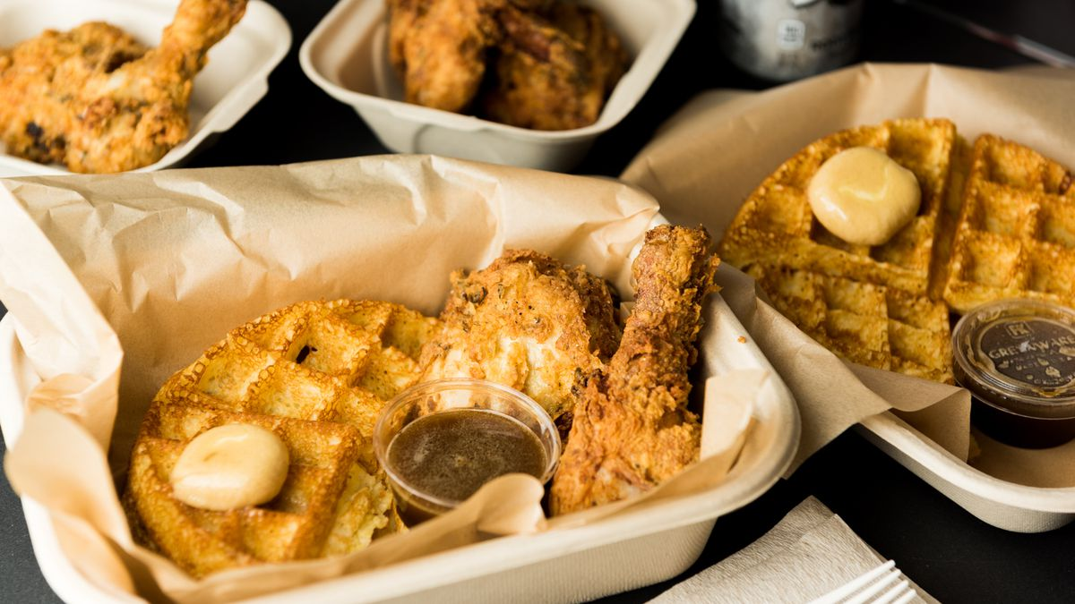 Fried chicken and waffles at Brown Sugar Kitchen