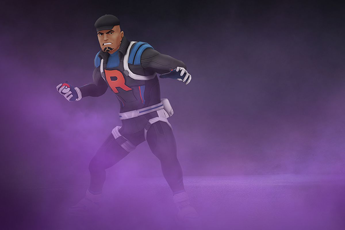 Cliff from Team Rocket stands in purple smog, ready to throw a Poké Ball