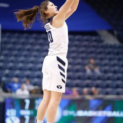 BYU's Cassie Broadhead shoots a 3-pointer in the Cougars' double overtime win, 72-66, over Santa Clara on Thursday, Jan. 26, 2017, at the Marriott Center in Provo.