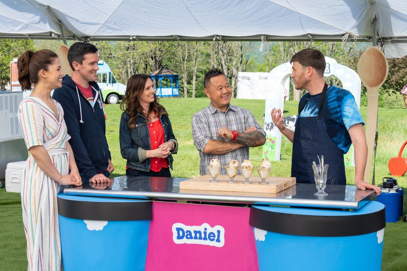 """Host Molly Yeh (from left) and judges Chris Rivard, Ali Tila and Jet Tila sample a competitor's dish on """"Ben and Jerry's: Clash of the Cones."""""""