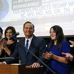 Sen. Mike Lee, R-Utah, stands with his family as he claims victory in South Jordan on Tuesday, Nov. 8, 2016, in the U.S. Senate race against Misty Snow.