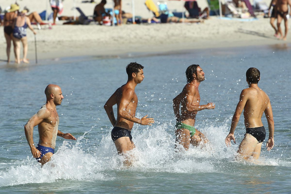 Italian soccer players, not naked and therefore presumably not gay, during a training session.