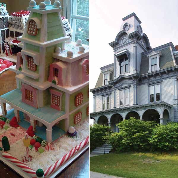 Jordan house made of gingerbread next to picture of the real life Jordan House.