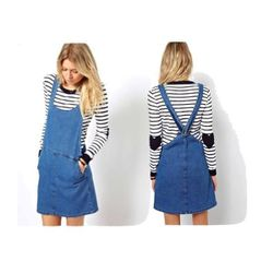 """Short and sweet, avoid wearing anything too """"precious"""" with this dress. Otherwise your friends will be saying, """"Osh Kosh B'gosh, what are you wearing?"""" instead of, """"Oh my gosh, great outfit!""""  Denim Pinafore Dress in Vintage Wash, $54.30 at <a href=""""http:"""