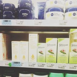 <b>Clicks</b> is the chain drugstore in Cape Town. They carry some familiar brands like <b>Nivea</b> and <b>Neutrogena</b> but I notice that tissue oil (which is Bio Oil in the US) is everywhere in all forms.