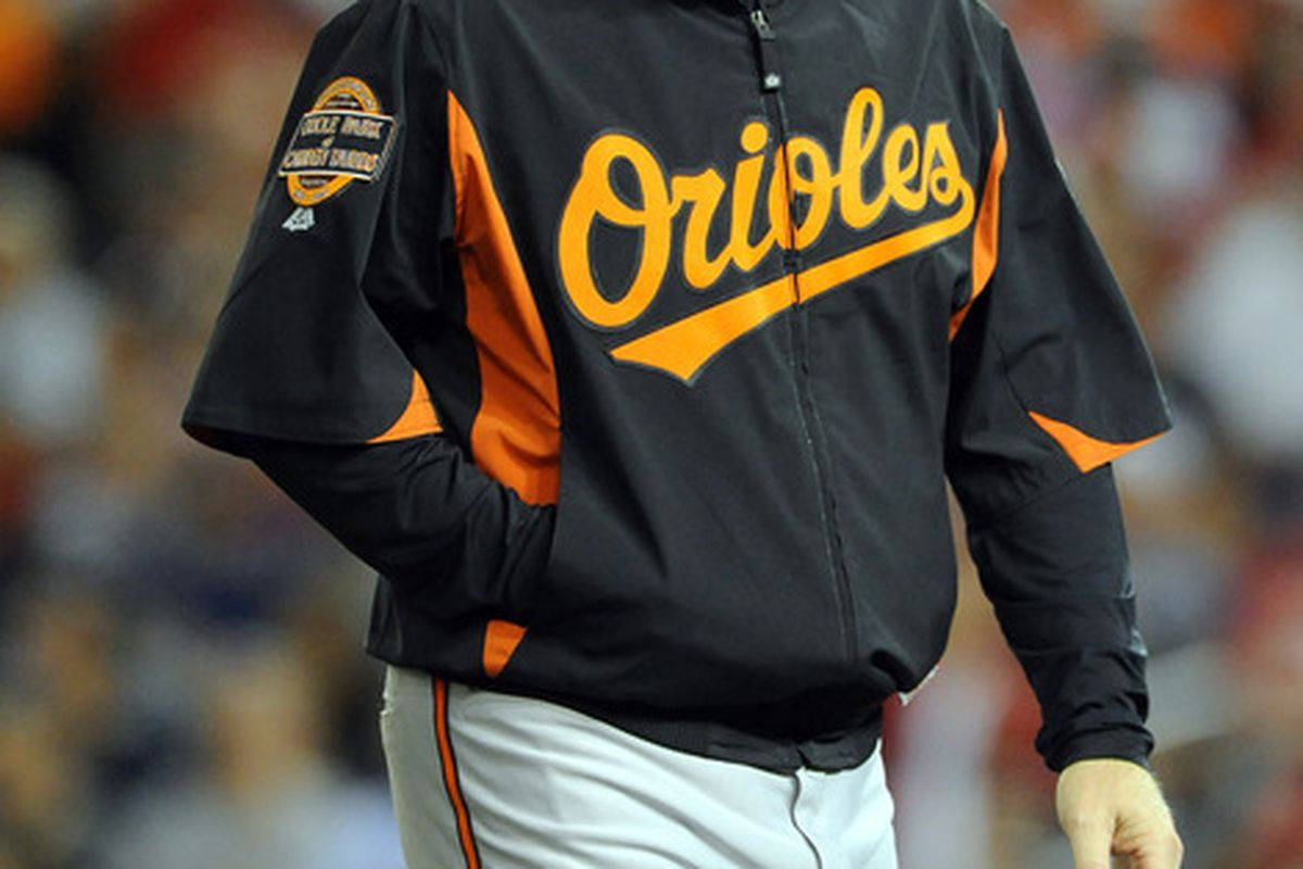 With a victory in tonight's game, the Orioles improved their record during Buck Showalter's tenure as manager to 130-130. Mandatory Credit: Brad Mills-US PRESSWIRE