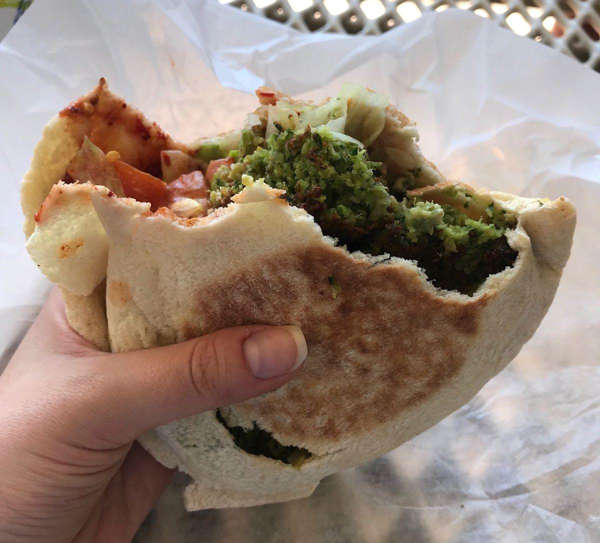 Falafel pita sandwich at Falafel Drive In