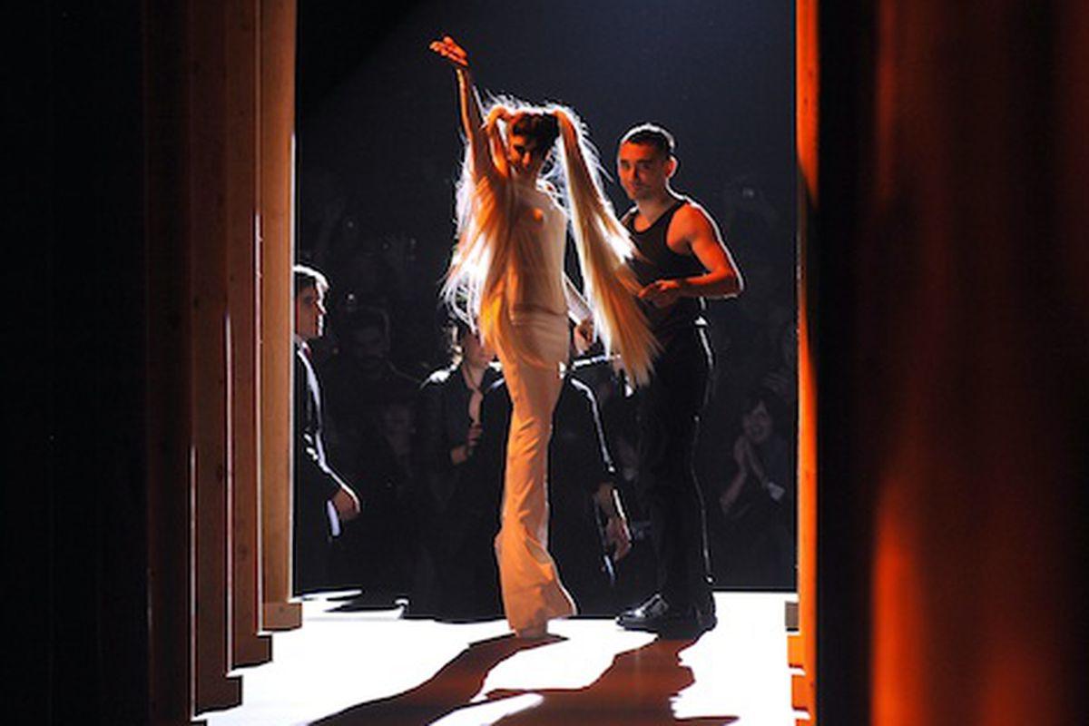 Lady Gaga and Nicola Formichetti take a bow at Mugler; Getty Images