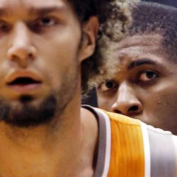 Utah Jazz forward Derrick Favors (15), right, waits for the inbounds pass with Phoenix Suns center Robin Lopez (15) in front of him as the Utah Jazz and the Phoenix Suns play Tuesday, April 24, 2012 in Energy Solutions arena.