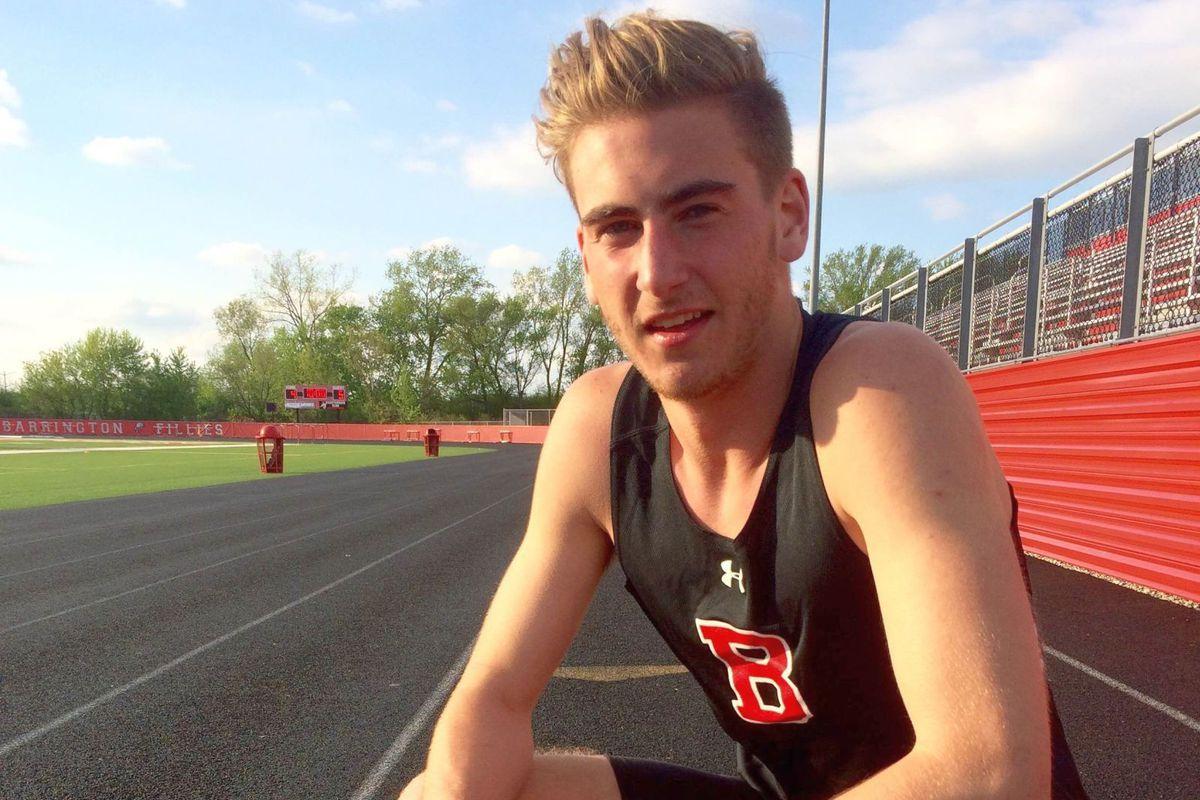 Konrad Eiring on the track at Barrington High School in Illinois.