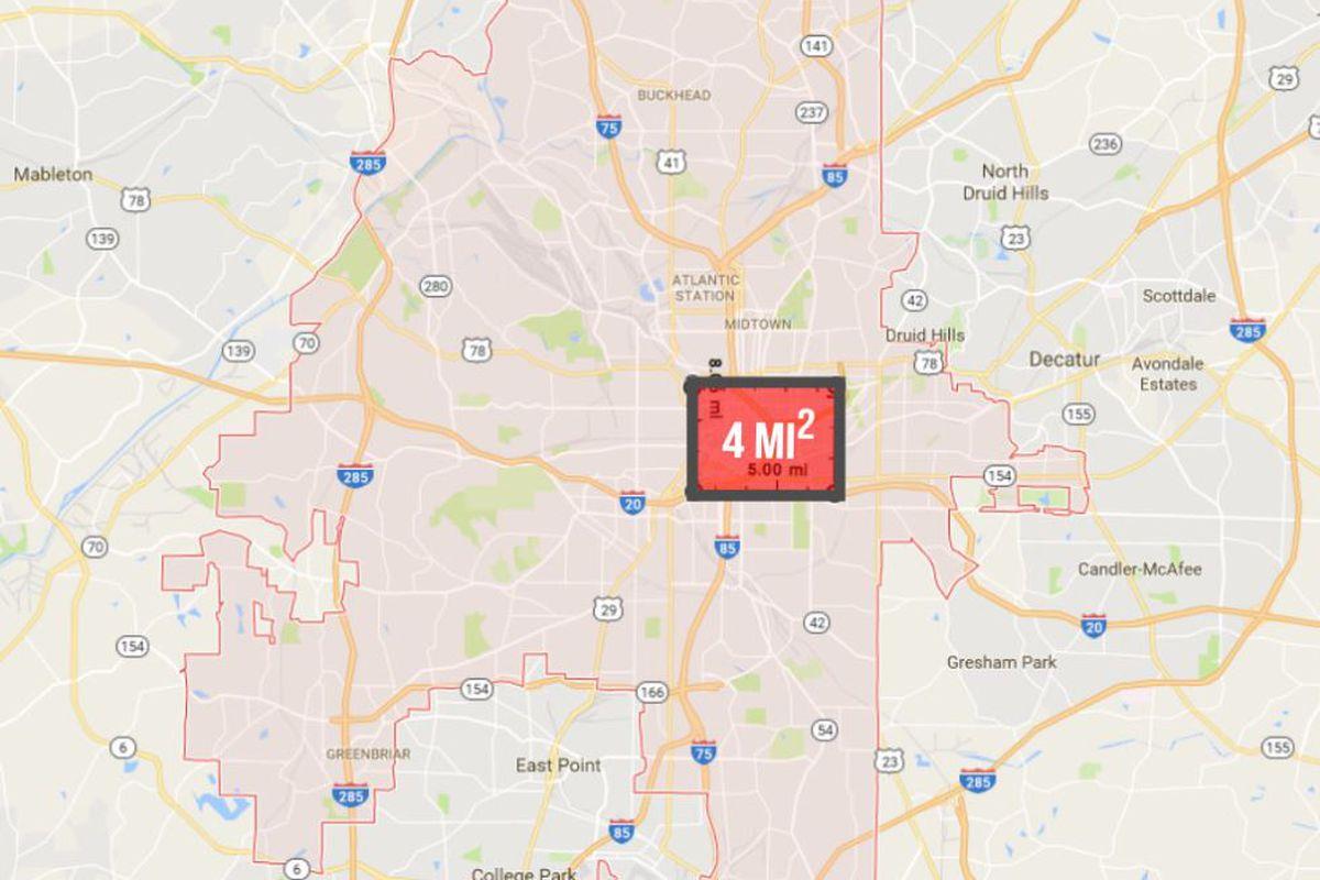 Atlanta Population Map Atlanta's population density versus global cities—in maps