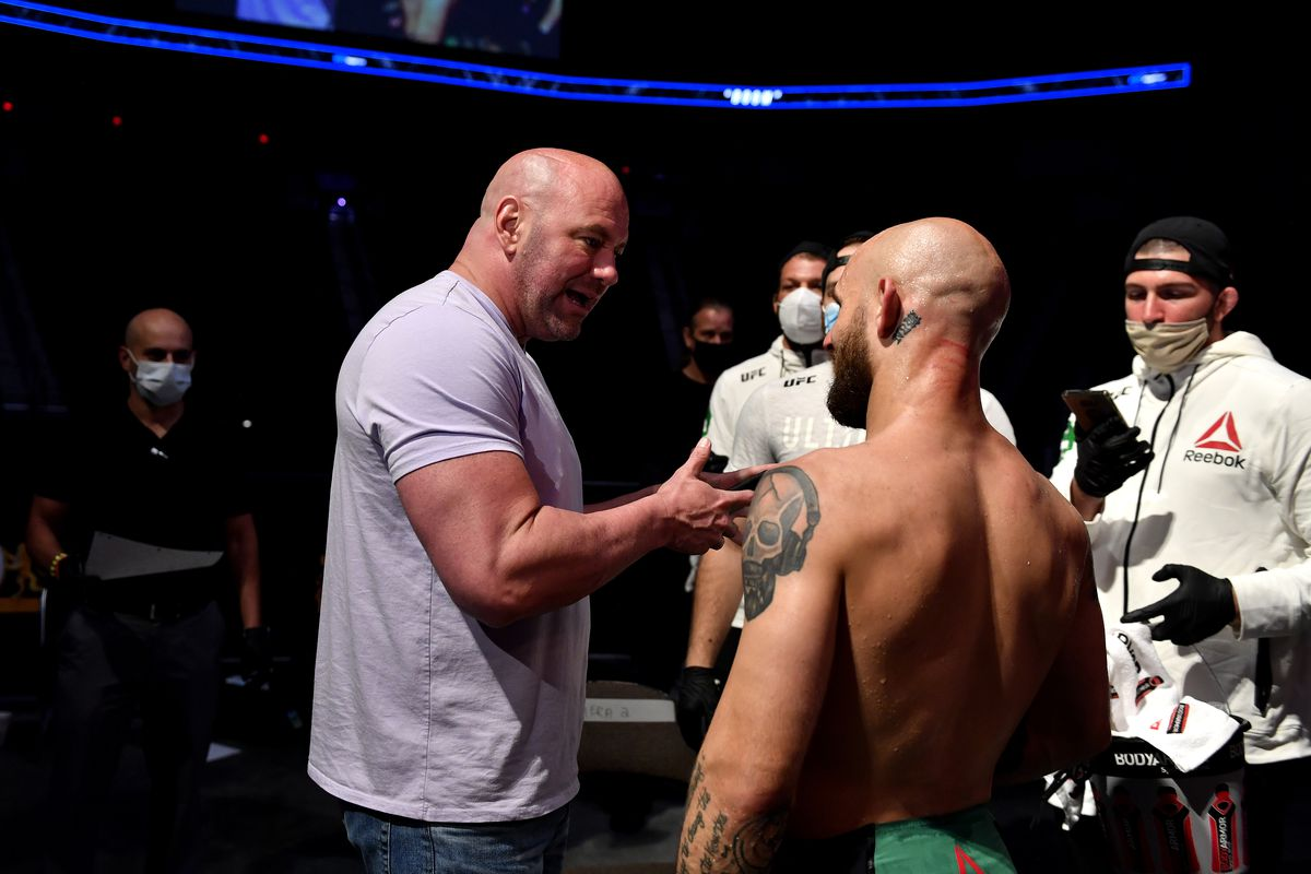 UFC president Dana White talks with Brian Kelleher of the United States after winning his Men's Bantamweight bout during UFC Fight Night at VyStar Veterans Memorial Arena on May 13, 2020 in Jacksonville, Florida.