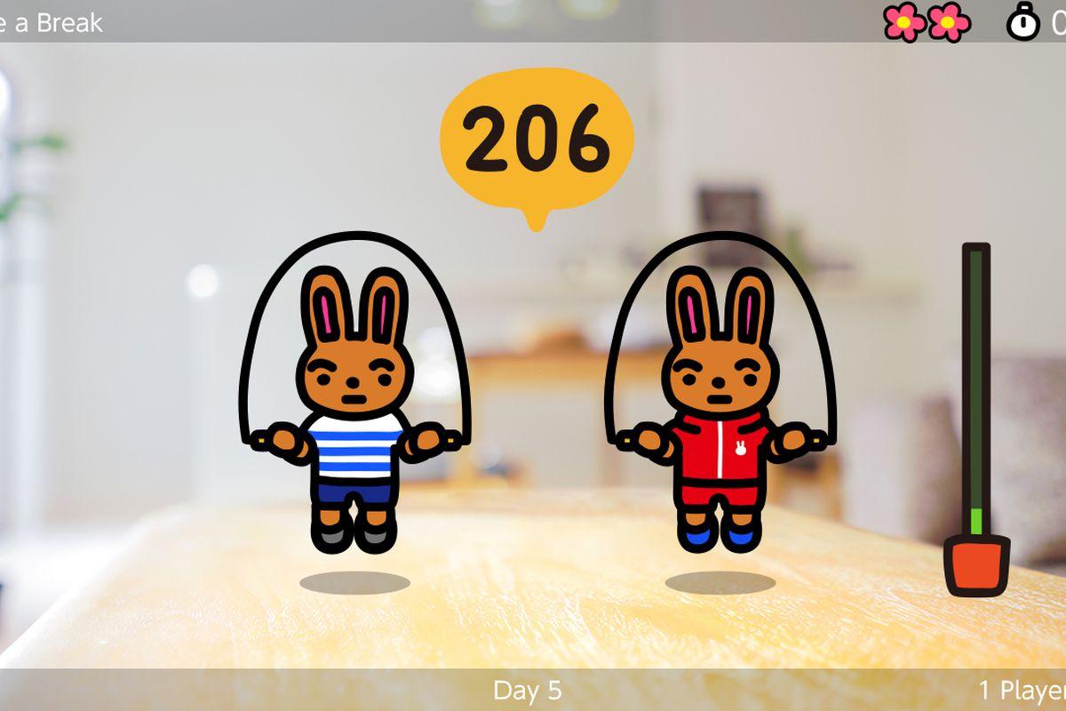 TWO rabbits jumping rope