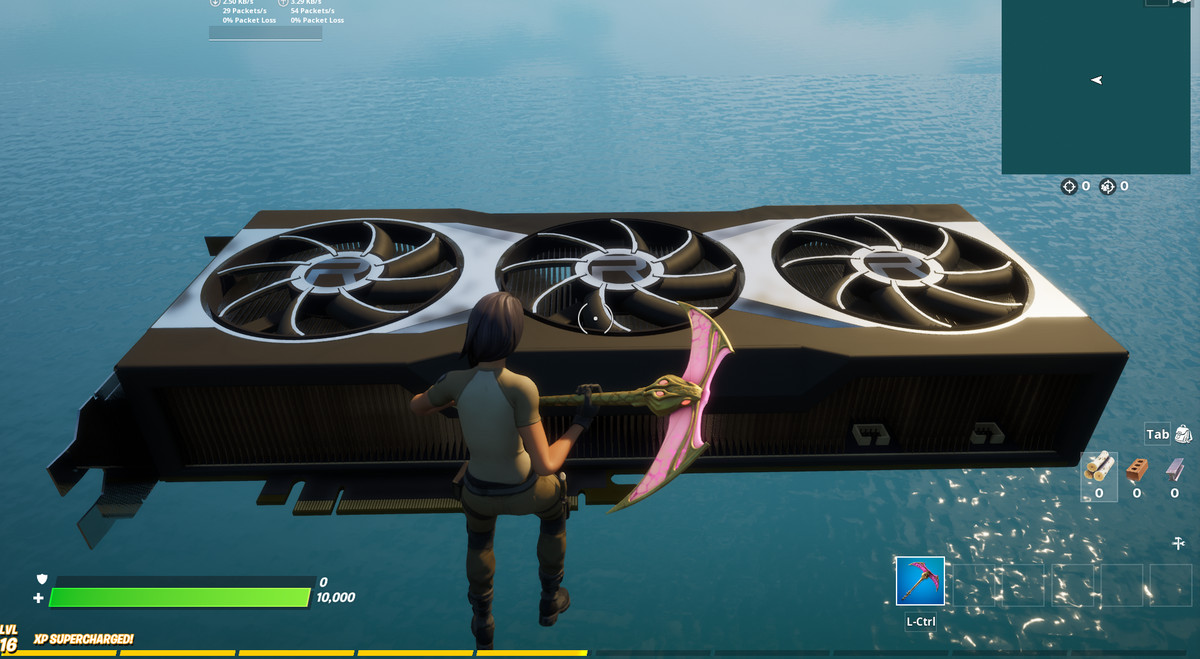AMD's RX 6000 series graphics card inside of Fortnite