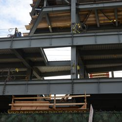 3:18 p.m. Open area in the decking under the left field video board -