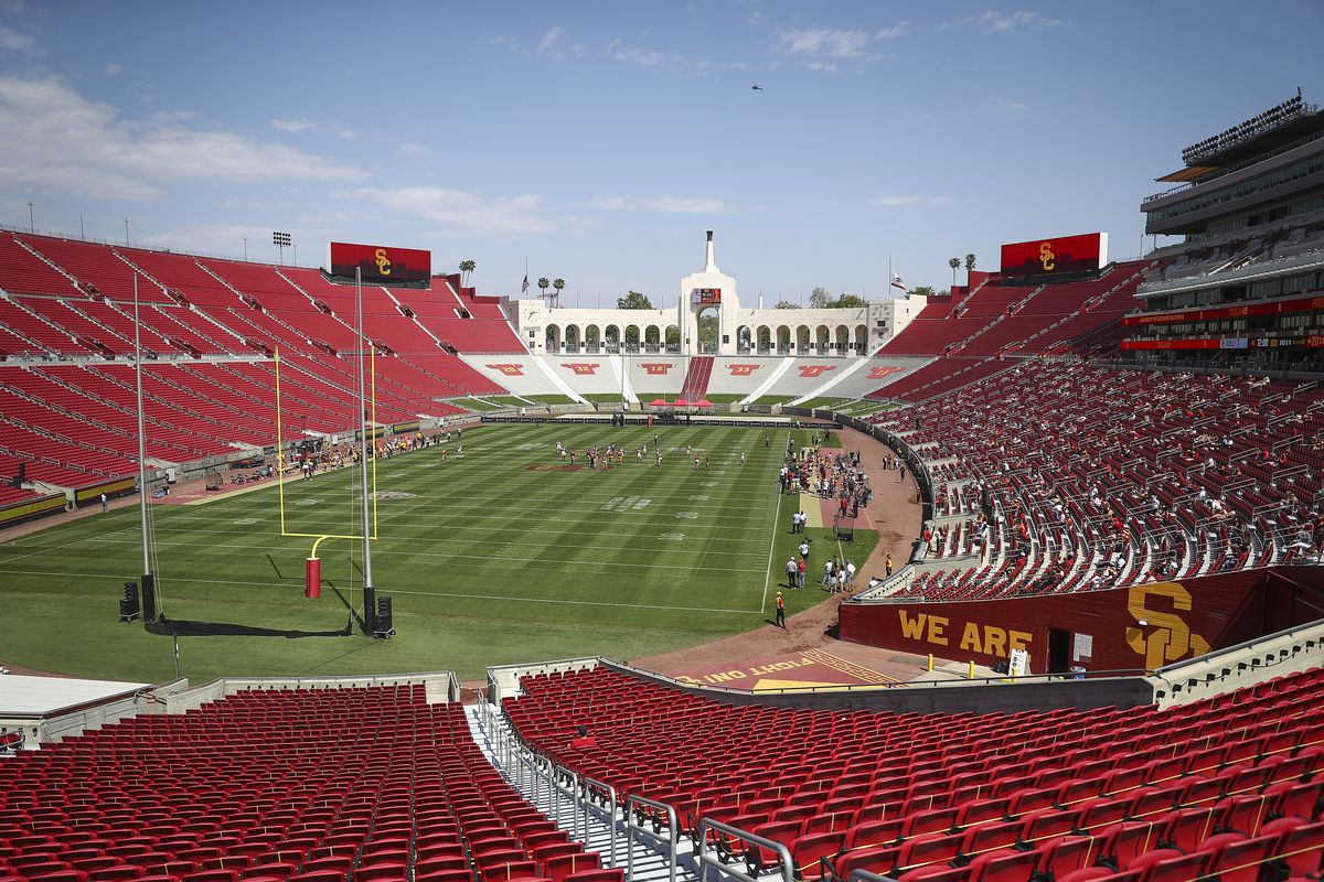 A general view of Memorial Coliseum during the USC spring game at Los Angeles Coliseum on April 17, 2021 in Los Angeles, California.