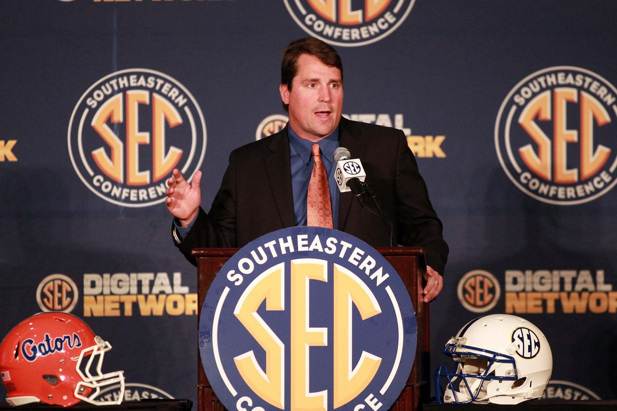 July 18, 2012; Hoover, AL, USA;  Florida Gators head coach Will Muschamp speaks during a press conference at the 2012 SEC media days event at the Wynfrey Hotel.   Mandatory Credit: Marvin Gentry-US PRESSWIRE