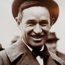 Although spiffily clad in this vintage photo, humorist Will Rogers needed to track down a coat and tie ? required attire at the time ? when he arrived to dine at Hotel Utah about 80 years ago. The tale of his encounter was retold in a centennial display, of which this image is a part, in the Joseph Smith Memorial Building lobby.