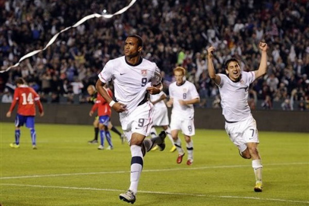 Could this be the scene in Kansas City on June 14? <strong>Sporting KC</strong> forward <strong>Teal Bunbury</strong> celebrating his first USMNT goal against Chile.