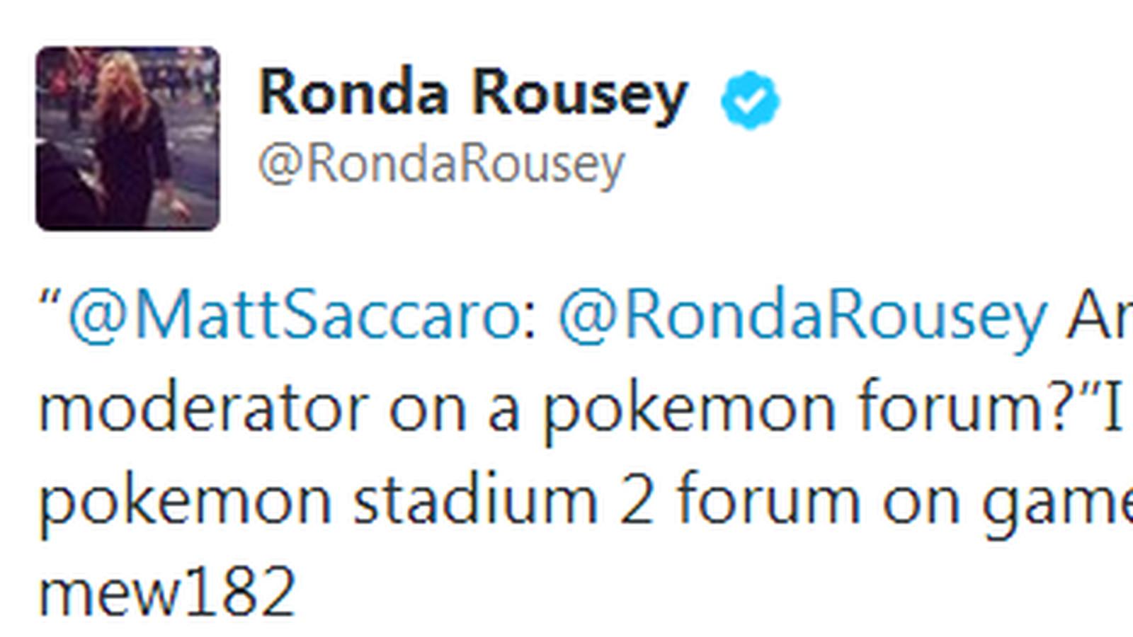 Ronda Rousey作为神奇宝贝论坛版主的形象非常棒