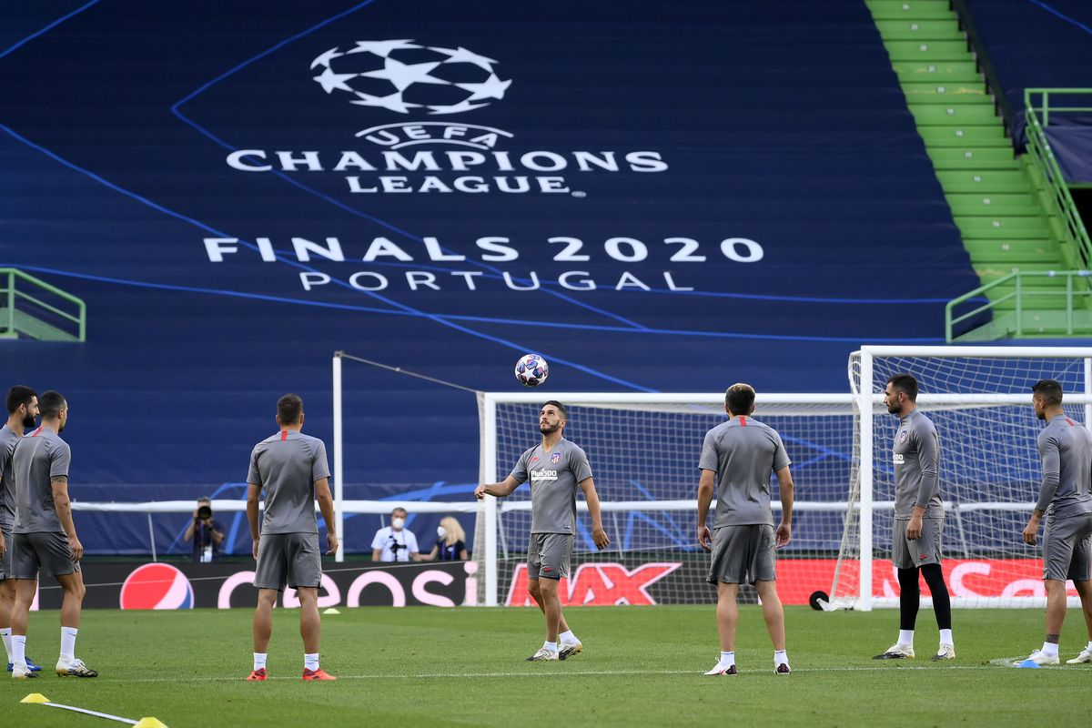 The Atletico Madrid team train during a training session ahead of their UEFA Champions League quarter-finals match against RB Leipzig at Estadio Jose Alvalade on August 12, 2020 in Lisbon, Portugal.
