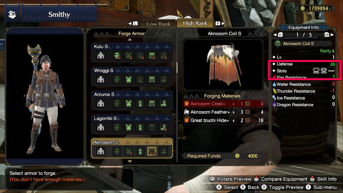 Armor slots in Monster Hunter Rise
