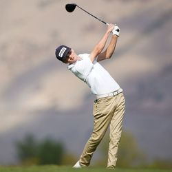 Morgan High School's Tanner Telford competes in the 3A boys state championship at Oquirrh Hills Golf Course in Tooele on Thursday, Oct. 7, 2021.