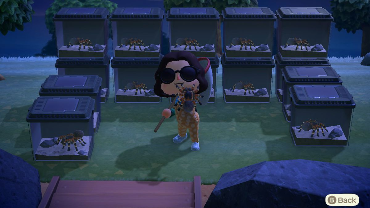 A villager holds up a tarantula in Animal Crossing: New Horizons