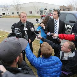 North Salt Lake Police Chief Craig Black, talks to members of the media as Emergency crews respond Tuesday, Dec. 2, 2014, to a helicopter crash in North Salt Lake.