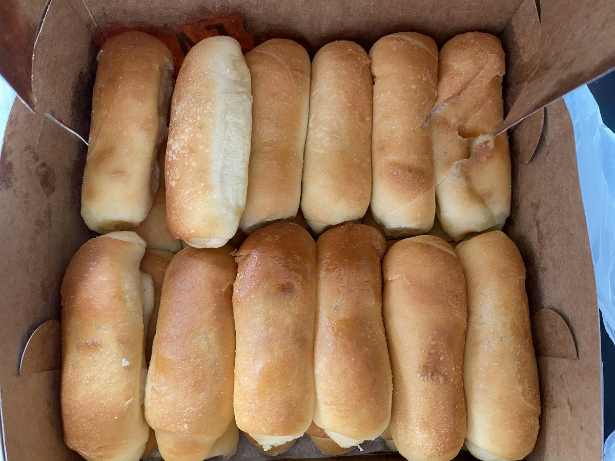 A box of señorita bread from Starbread Bakery