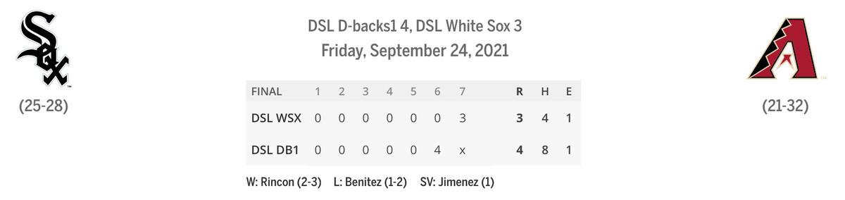 DSL Sox/Dbacks linescore