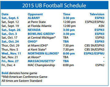 FB schedule and tv information ub credit